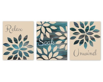 Bathroom Wall Art Relax Soak Unwind Abstract Prints Set of 3 prints Home Decor Beige Grey Aqua Teal Blue UNFRAMED