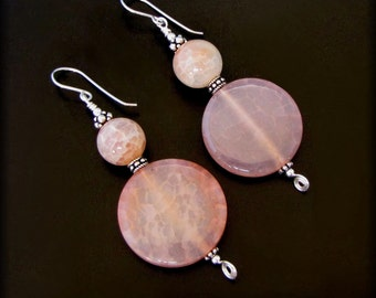 APRICOT NECTUR - Bold Crackle Agate Sterling Silver Earrings