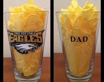 NFL or any Sports team pint glass with name