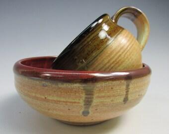 Handmade, stoneware, mug and bowl breakfast set. Pale yellow, chocolate brown and iron red