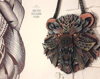 Stunning Bear Totem / Bear art / Bear Head / Totem animal / Totem art / Wall hanging / Totem wall hanging / Talisman / Best gifts for men
