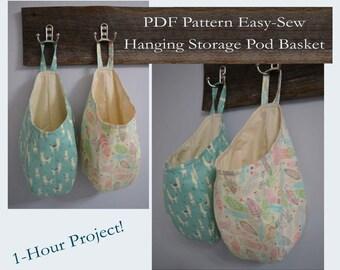 Easy Sew Hanging Storage Pod Basket PDF Pattern