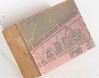 Vintage Copper PRINTING Plate WOODEN Block TRAIN Bridge Passenger Rail Wi Photo letterpress