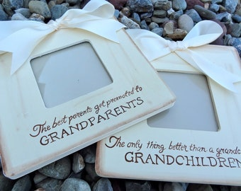 Set of 2 Frames The Best parents get promoted to grandparents Ultrasound Announcement New Baby