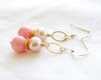 Coral Pearl Earrings Pink Coral Freshwater Pearl 14kt Gold Filled Jewelry Peach Coral Bridesmaid Earrings Country Chic Wedding Jewelry