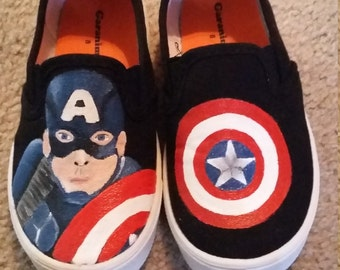 Captain America painted shoes