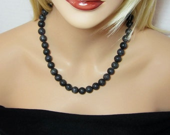Big Bead Black Turquoise Necklace Large Beaded Statement Necklace 12mm Round Beads