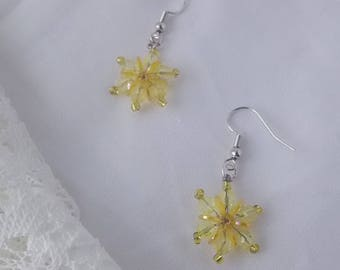 Yellow Waterlily Flower Snowflake Beaded Earrings, Opus 50