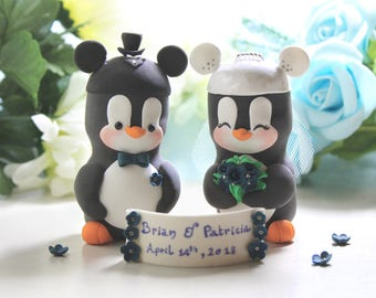 Mouse ears hats Penguins cake toppers wedding - M Mouse inspired black white bride groom royal blue silver wedding cute funny
