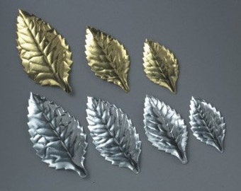Silver Foil Cake Leaves/ Gold Foil Cake Leaves/ Small Foil Leaves/ Anniversary Cake Topper