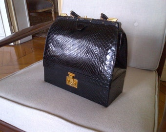 Vintage python Leather Hermes bag in perfect condition with keys 28cm size
