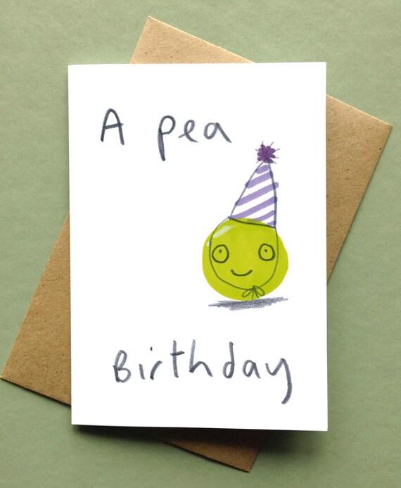 Items Similar To Happy Birthday Card 'A Pea Birthday