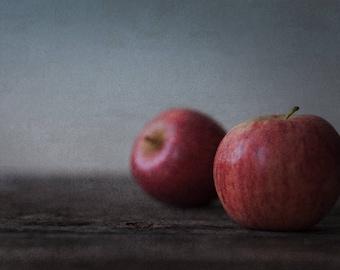 Gala Apples on Wood - Rustic Food Fine Art - Kitchen Decor - Farmhouse Simplistic - Still Life Food Photography - Fruit