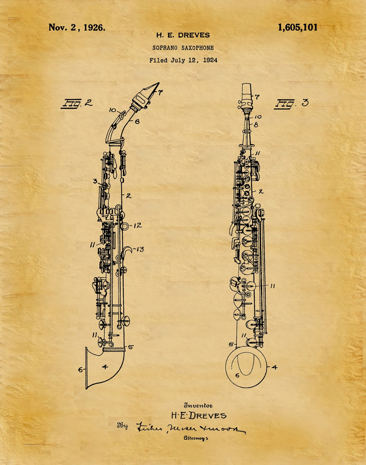 1926 Soprano Saxophone Patent Print Vers #2- Musical Instrument ...