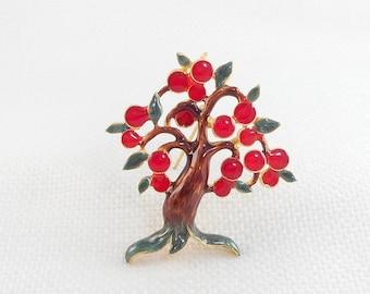 Vintage Enamel Apple Tree Brooch Signed 80's Apple Tree Brooch Pin Gift for Her Nature Brooch WOW Apple Tree Brooch Tree Jewelry