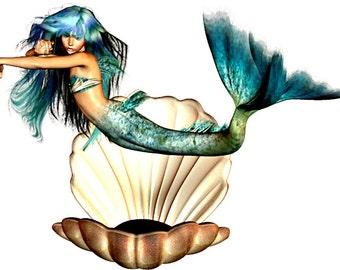 Mermaid Image, Mermaid Cutout, Large Clipart, 8 Pack,Transparent Background, Craft Supplies, Ariel, Transfer Template,Turquoise Mermaid Art