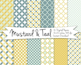 Mustard and Teal Digital Paper // Instant Download // Printable Patterned Polka Dot and Quatrifoil Digital Paper