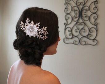 Bridal hair comb, Leaf Hair comb, Wedding hair accessories, Wedding headpiece, Swarovski hair comb, Leaf head piece, Bridal hair piece