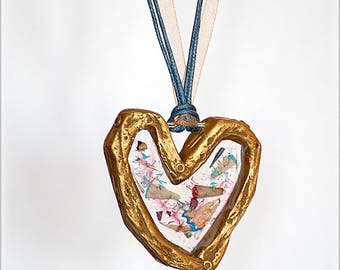 Big Artist's Heart Pendant, Gift for Artist, Unusual Statement Jewellery, Resin Clay Heart Pendant Necklace, Recycled Pencil Crayon Shavings