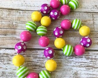 Easter Bubblegum Necklace, Toddler Easter Spring Jewelry, Easter Chunky Necklace, Easter Jewelry Kids, Chunky Bubblegum Easter Beads