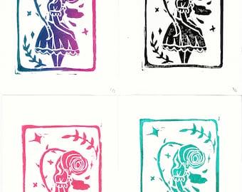 Rose bud girl - Lino Print