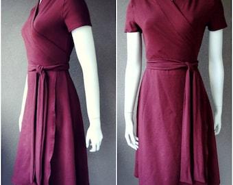 Long wrap dress, short sleeves, shawl neckline