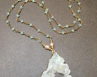 White druzy pendant.