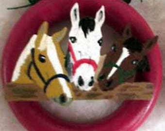 Three Horse Friends Christmas Tree Ring Ornaments