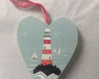 wooden heart, lighthouse, coastal art, nursery gift, collectibles, made in Cornwall, seaside, sailboats