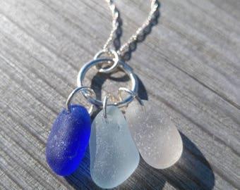 DreamCatcher Necklace// Genuine Sea Glass// Cobalt + Aqua + White// SeaGlass Necklace// Gift For Her// Beach Glass Necklace// Blue Sea Glass