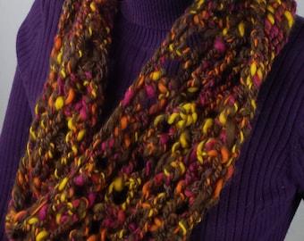B110 brown/orange hand knitted wool mobius scarf