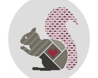 squirrel with heart cross stitch pattern pdf download