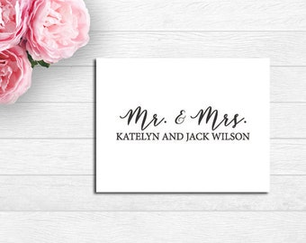 Mr. and Mrs., Couples Note Cards, Couples Thank You Notes, Mr. and Mrs. Personalized Folded Note Cards, Mr & Mrs Wedding Thank You Notes,