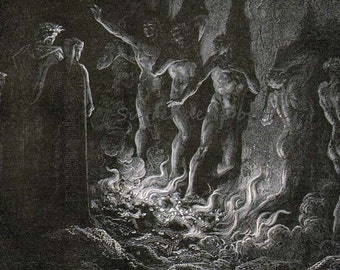 Lustful Sinners Pass Through Fire Seventh Circle Gustave Dore' Purgatorio Canto 25 Purgatory Gothic Vintage Engraving Hell Black & White