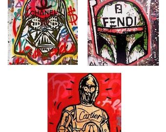 Alec Monopoly Star Wars  Darth Vader C3P0 Boba Fett 20x20 Canvas Prints