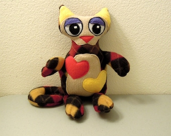 Patchwork Kitty Cat Plush - Hearts