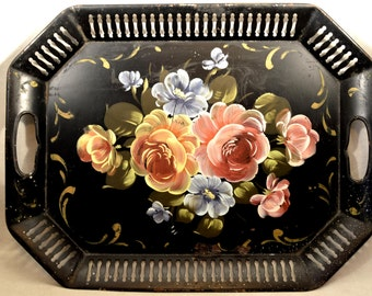 Toleware Tray Tole Tray Vintage Floral Hand Painted Flowers