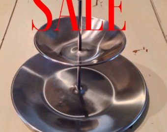 ONEIDA Mid-Century Modern Stainless 2-Tier Tid Bit Serving Tray MCM Sleek