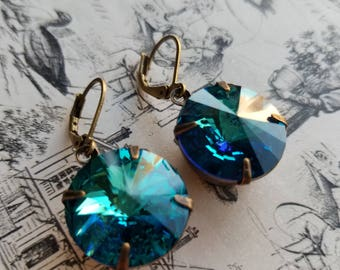 Teal Crystal bridal earrings blue and green earrings rivoli earrings swarovski earrings bridal earrings bridal jewelry mothers day gifts
