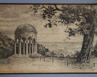 Signed Vintage Etching, Monopteros at Neroberg, Wiesbaden, Germany, Grand Tour Artwork