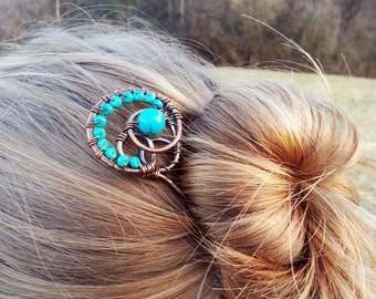 Statement hair jewelry - Rustic green copper hair pin or stick - Earthy accessories for women - Hair fascinator - Womens Gift for her