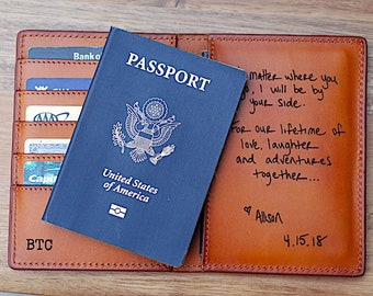 Customized Passport Wallet, Handwritten Note, Personalized letter, Hubby, Groom Gift From Bride, Made in USA, Leather, Travel, Passport Case