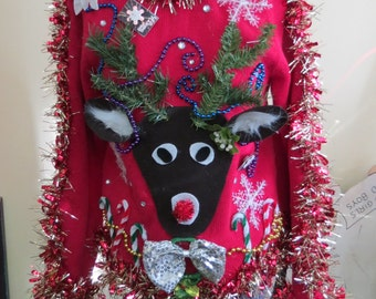 Custom 3-D Reindeer Tacky Ugly Christmas Sweater with Wild Garland, Light up Bow Tie and snowflake  Long Sleeve  Mens Womens Made to order