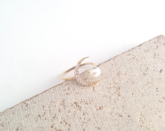 Moon Ring,Pearl Moon Ring,Crescent Moon Ring,Gold Moon Ring,Crescent Moon Gold Ring,Cubic Moon Ring,Pearl Ring,Bridesmaid Ring