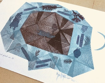 Magical Plant nr. 20, original linocut monotype print, wall art decor by Paulina Varregn