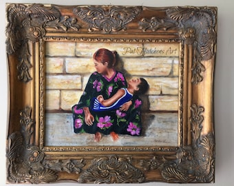 "mothers day Gift, Mothers paintings "" With Love From Russia"" Paintings of mothers and children, cityscape, traditional art, original art,"