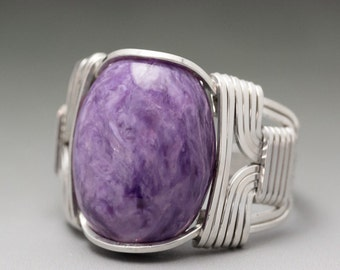 Charoite Sterling Silver Wire Wrapped Gemstone Cabochon Ring - Made to Order and Ships Fast!