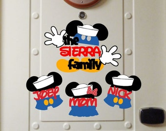Sailor Family Bundle - Personalized Mickey and Minnie Mouse  - Disney Cruise Magnet - Door Magnets
