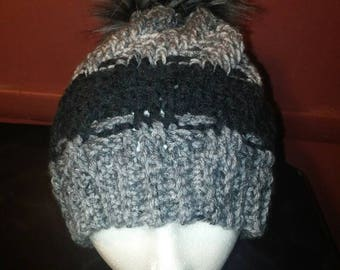 Shades of Gray Faux Fur Pompom Hat