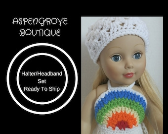 18 inch doll handmade rainbow summer Halter head scarf set Ready to ship